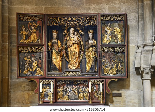 BAMBERG, GERMANY - AUGUST 21: Altar in the transept Dome on August 21, 2014. The historic center of Bamberg is UNESCO World Heritage Site