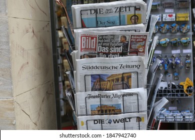Bamberg, Germany. August 31, 2020. German newspapers in a stand outside a shop in Germany.
