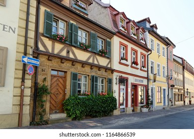 BAMBERG, GERMANY - AUGUST 8, 2015: Street in the historical town of Bamberg, Bavaria. Large part of Bamberg is a UNESCO World Heritage Site.