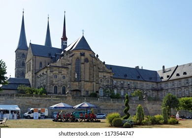 BAMBERG, GERMANY - AUGUST 8, 2015: St Michael Church, Michaelskirche in Bamberg. It is placed on the top of a hill. Large part of Bamberg is a UNESCO World Heritage Site.