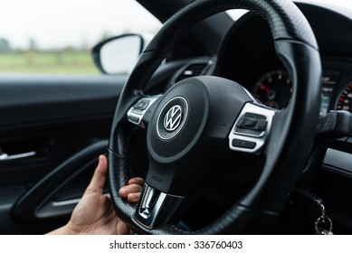 Bamberg, Germany: Circa November 2015 - Steering wheel of a VW Scirocco