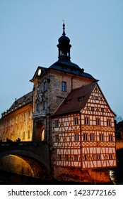 Bamberg, Germany (Deutschland) - December 2014 Old town hall (Altes Rathaus) in Bamberg over the River Regnitz. A large part of the town has been a UNESCO World Heritage Site.
