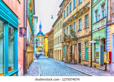 Bamberg, Germany - February 19, 2017: Bamberg city center street view and people