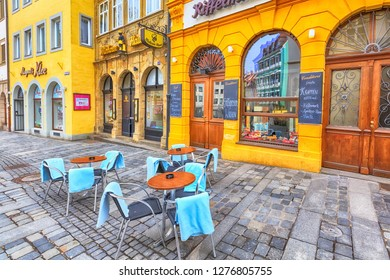 Bamberg, Germany - February 19, 2017: Bamberg city center street view and nice restaurant