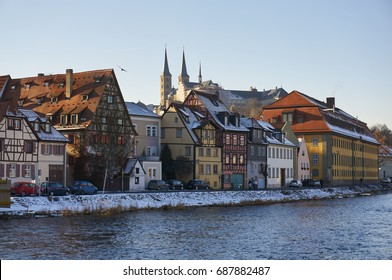 Bamberg, Germany - January 22, 2017: Bamberger Dom Cathedral seen from the other side of the river
