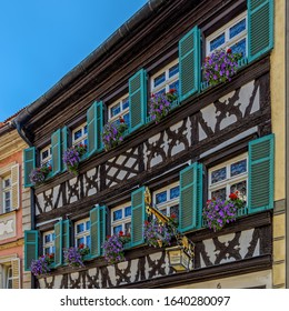 BAMBERG, GERMANY - Jun 13, 2019: Facade of the historic Schlenkerla brewery in Bamberg, Germany. It is famous for its smoked beer Aecht Schlenkerla Rauchbier.