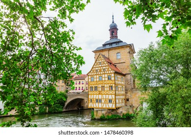 Bamberg, Germany - June 14, 2019: old town hall in Bamberg, Bavaria, with unidentified people. Bamberg is a city in Bavaria and well known for its medieval old town