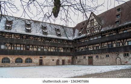 BAMBERG, GERMANY: MARCH 03, 2018: Alte Hofhaltung, Old Courtyard, Historical Museum of the City of Bamberg, Bavaria, Germany