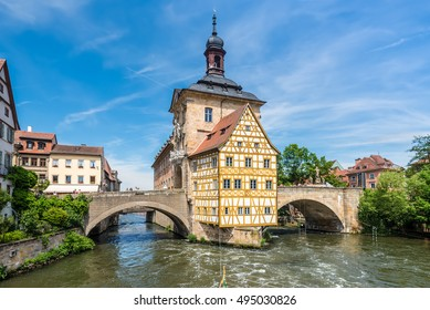 Bamberg, Germany - May 22, 2016: Historical city hall of Bamberg on the bridge across the river Regnitz, Bamberg, Germany.