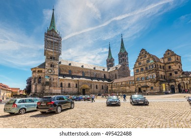 Bamberg, Germany - May 22, 2016: A wide-angle view of the Bamberg Cathedral. Lovely medieval christian church in the world culture heritage city of Bamberg, Franconian Landmark in Bavaria, Germany.