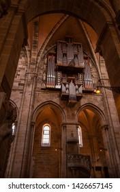 Bamberg, Germany - MAY 23 2019 :Interior of Bamberg Cathedral with  church organ.