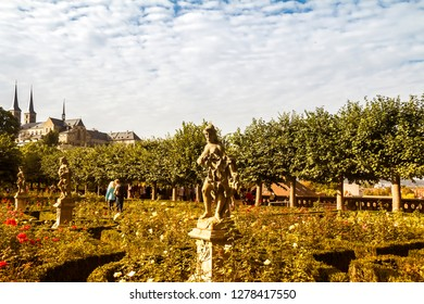 Bamberg, Germany - Oct 3, 2015:  Tourists enjoying the Rose garden in Bamberg on the Main river, World Heritage Site in the old part of town