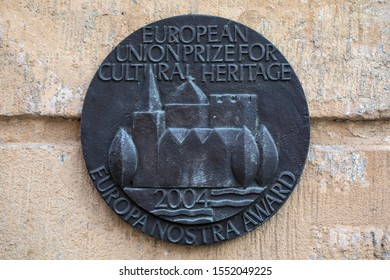 Bamberg, Germany - October 22nd 2019: A European Union Prize For Cultural Heritage plaque in the beautiful Bavarian town of Bamberg in Germany.
