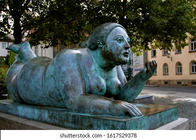 """BAMBERG. GERMANY. On  september 14 2019. Sculpture by Fernando Botero, in Bamberg, Bavaria, Modern sculptures. """"lady with fruit"""""""