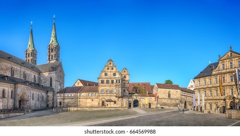 Bamberg, Germany. Panorama of Domplatz square with Bamberg Cathedral, Old court yard and State Library