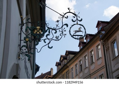 BAMBERG, GERMANY - SEP 11, 2016 - Unicorn sign in  Bamberg, Germany