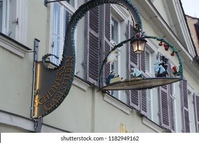 BAMBERG, GERMANY - SEP 11, 2016 - Llively street sign for a restaurant in  Bamberg, Germany