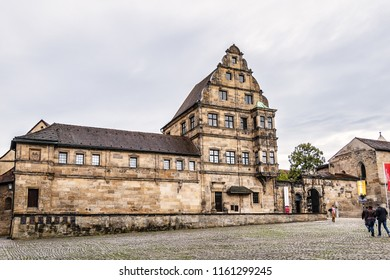 BAMBERG, GERMANY - SEPTEMBER 1, 2017: Architectural fragments of buildings in the Bamberg historic center. Historic city center of Bamberg is a listed UNESCO world heritage site.