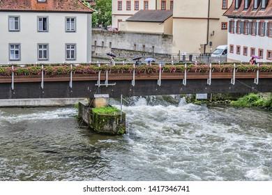 BAMBERG, GERMANY - SEPTEMBER 1, 2017: River Regnitz and Bridge over the Regnitz in Bamberg old city. Bamberg, Upper Franconia, Germany.
