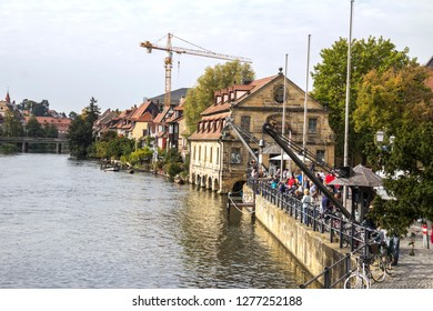 Bamberg, Oct 3, 2015: Scenic panorama of the Old Town pier architecture in Bamberg, Bavaria, Germany