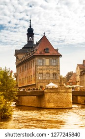 Bamberg, Oct 3, 2015:  view of Old Town Hall of Bamberg (Altes Rathaus) with two bridges over the Regnitz river, Bavaria, Germany
