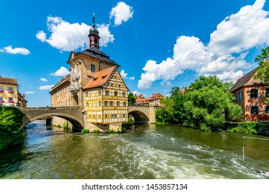 Bamberg old historic city in Bavaria with old city hall in wonderful sommer weather