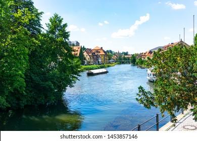 Bamberg old historic city in Bavaria at the river Regnitz