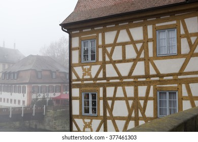BAMBERG/GERMANY - 29 DECEMBER 2015: wall and windows of the Rathaus in a foggy day,