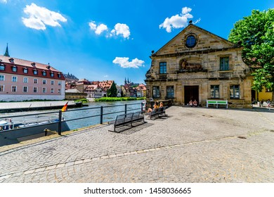 Bamberg,Germany-Juni 19,2019:People in the old town on the river