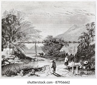 Bamboo aqueduct old illustration, Hong-Kong valley. By unidentified author, published on Magasin Pittoresque, Paris, 1844