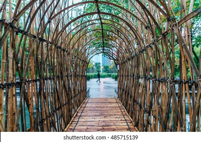 Bamboo arc-shaped pass in Kowloon Park, Hong Kong