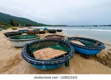 Bamboo basket boats on the beach at Da Nang, Vietnam