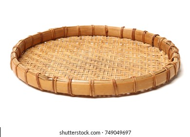 Bamboo basket hand made isolated on white background. Woven from bamboo tray.