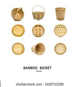 Bamboo basket isolated on white background.