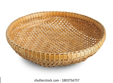 Bamboo basket isolated on white background. - Shutterstock ID 1803756757