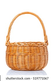 Bamboo basket isolated on white background Decorated on white