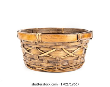 Bamboo basket isoleted on a white background with clipping path.