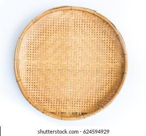 bamboo basket on white background