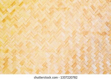 Bamboo basket work mat Thai wallpaper style texture background.