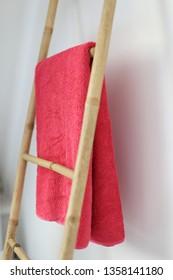 A Bamboo bathroom towel rack