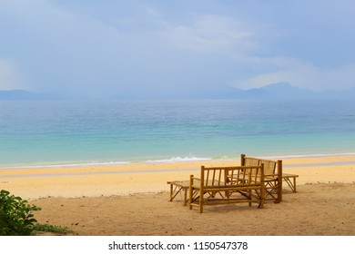 Bamboo beach chair with soft focus