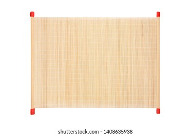 bamboo blind frame with rope isolated on white background with clipping path.