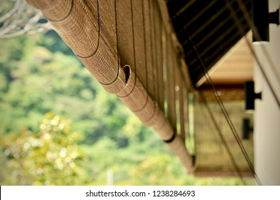 Bamboo blinds asian traditional home decoration. Sunlight coming through bamboo blinds by the window. Bamboo curtain at a window overlooking garden.