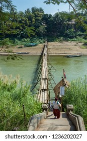 Bamboo bridge over the Nam Kahn River near its confluence with the Mekong River in Luang Prabang Laos
