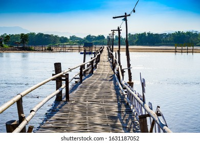 Bamboo bridge over the Ping river at Ban Tak district, Tak province.