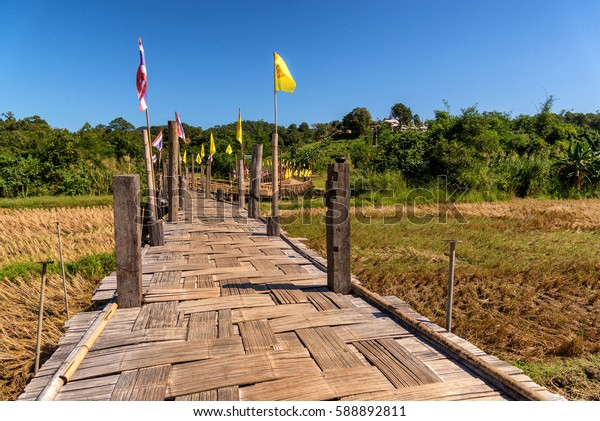 Bamboo bridge. Place name Sutongpe Bridge. the longest wooden bridge located in Mae Hong Son province The Northern of Thailand.