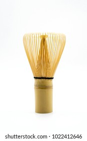 "Bamboo Brush Tea Whisk Called ""Chasen"" on White Background"