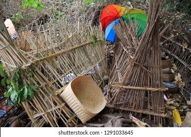 Bamboo cages covering the deceased, Cemetery in Trunyan village, Lake Batur, Bali, Indonesia