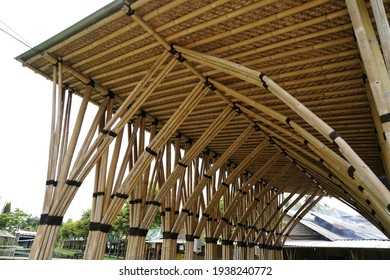 Bamboo and coconut fibers for roof installation and construction. Indonesian traditional material construction for house and shelter.