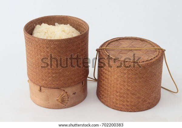 bamboo container for holding cooked glutinous rice On a white background.